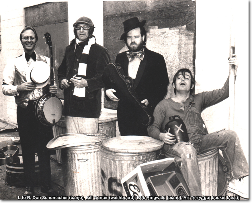 Photo of the Boondockers musicians out back at Capone's. Don Schumacher (banjo), Bill Gunter (washboard), Bob Ringwald (piano), Art Terry (gut bucket bass)