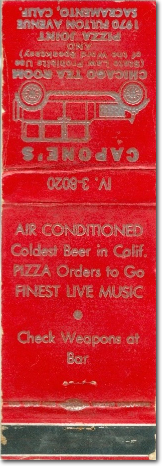 Photo of a Matchbook cover from Capone's. Advertising cold beer and pizza. Says to check weapons at the bar.