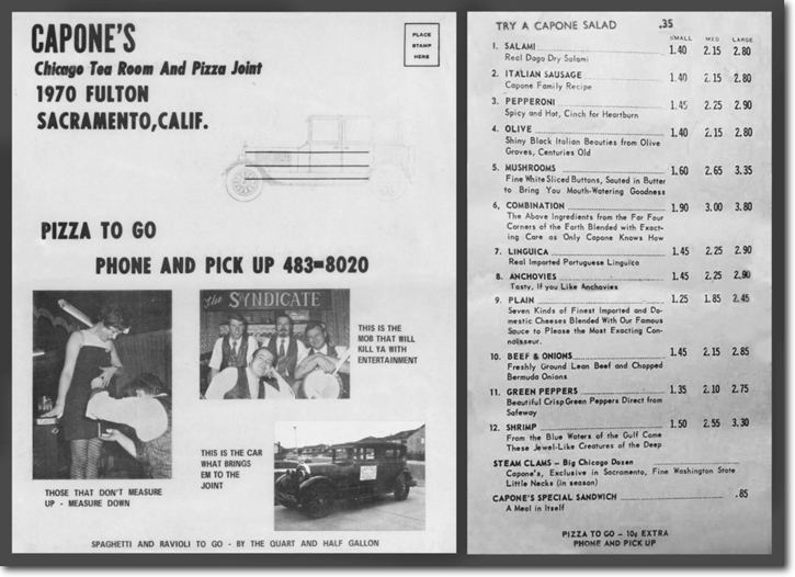 Photo of Capone's Menu. Typical prices are, A large combo pizza is $3.30 and Capone's special sandwich 85 cents. Also a photo of Art Terry measuring a girl's mini-skirt.