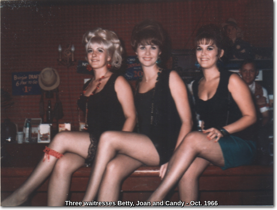 A 1966 photo of three Capone's waitresses, sitting on the bar and dressed in Flapper attire. – Betty, Joan and Candy.